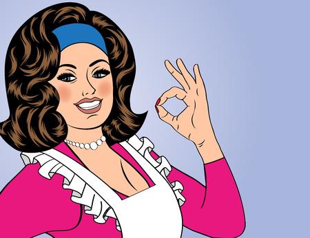 femme dessin: pop art mignon rétro femme dans la bande dessinée de style avec le signe OK. illustration vectorielle