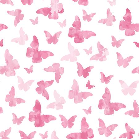 Seamless watercolor pink  butterflies pattern.