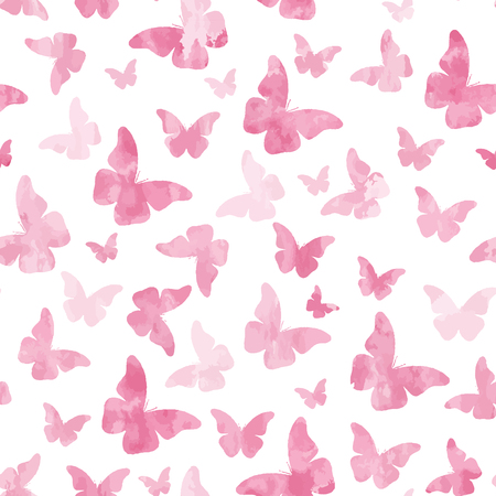 Seamless watercolor pink  butterflies pattern.