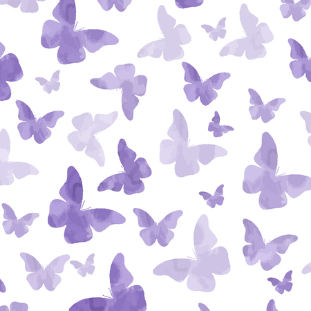 Seamless watercolor purple  butterflies pattern. Vettoriali