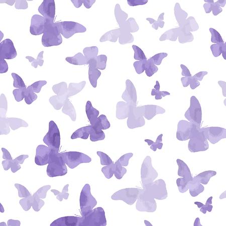 Seamless watercolor purple  butterflies pattern. Illustration