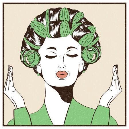 rulos: Mujer con rulos en el pelo, chica del arte pop illustration.Pop arte. cartel publicitario de la vendimia. mujer de moda.