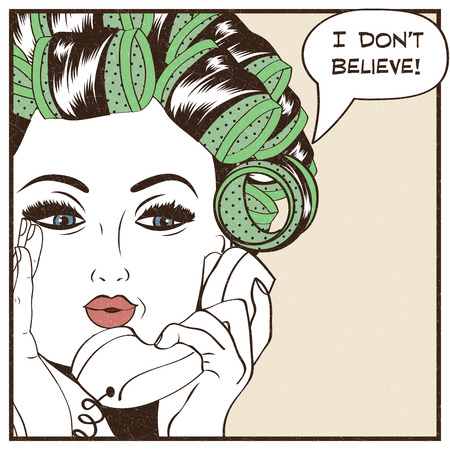 rulos: Mujer con rulos en el pelo, chica del arte pop illustration.Pop arte. cartel publicitario de la vendimia. Mujer de la manera que charla por teléfono retro Vectores