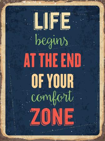 """Retro metalen bord """"Het leven begint aan het eind van je comfort zone"""" vector-formaat Vector Illustratie"""