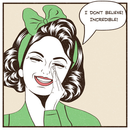 Pop illustration d'art de fille avec le discours bubble.Pop Art fille. Invitation de fête. Anniversaire voeux d'affichage publicitaire de card.Vintage. Mode femme avec bulle.