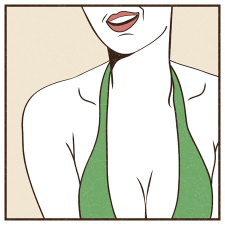 Pop Art illustration of female sexy breast Illustration