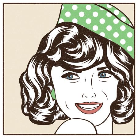 Pop Art illustration of girle.Pop Art girl. Party invitation. Birthday greeting card.Vintage advertising poster. Fashion woman. 向量圖像