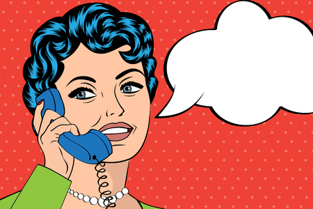 woman chatting on the phone, pop art illustration, vector illustration