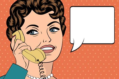 Mujer hablando por teléfono, pop arte de la ilustración, ilustración vectorial Foto de archivo - 55148434