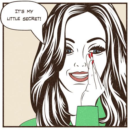 Pop art illustratie van meisje met de toespraak bubble.Pop Art meisje. Uitnodiging van de partij. Verjaardag groet card.Vintage reclameposter. Mode vrouw met tekstballon.