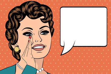 Ilustración del arte pop de la muchacha con el discurso bubble.Pop Arte chica. Invitación de la fiesta. Saludo de cumpleaños cartel publicitario card.Vintage. Forme a la mujer con la burbuja del discurso. Foto de archivo - 55148774