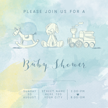 special moments: watercolor baby boy shower card with retro toys, vector illustration
