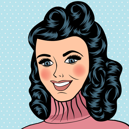 hair pins: Pop Art illustration of girl.  Pop Art girl. Vintage advertising poster. Fashion woman with bow Illustration