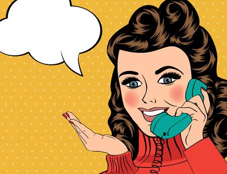 woman vector: sexy beautiful woman chatting on the retro phone, pop art vector illustration