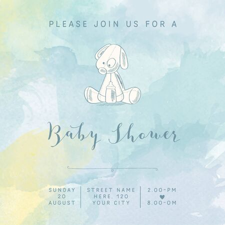 special moments: watercolor baby boy shower card with retro toy, vector illustration