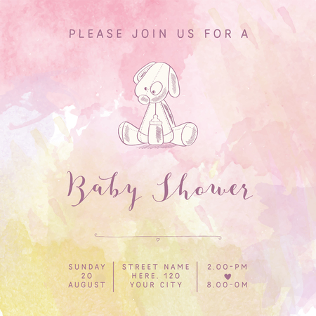 baby girl: watercolor baby girl shower card with retro toy, vector illustration