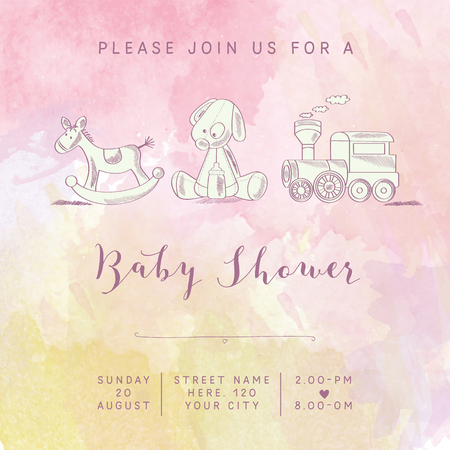 watercolor baby girl shower card with retro toys, vector illustration Ilustração Vetorial