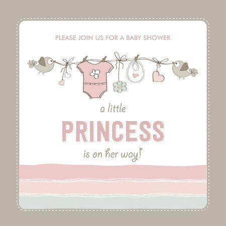 vintage baby: shabby chic baby girl shower card, vector illustration