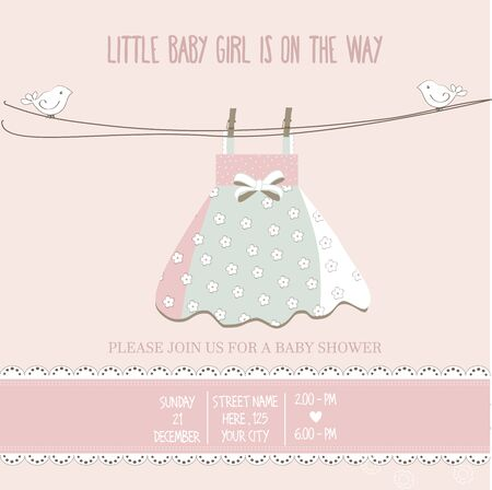 girl illustration: baby girl shower card, vector illustration