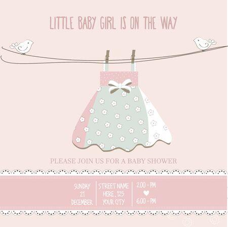 happy birthday girl: baby girl shower card, vector illustration