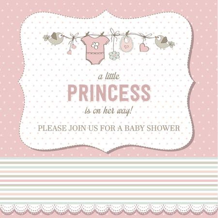 shabby: shabby chic baby girl shower card, vector illustration