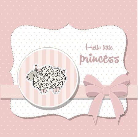 playfulness: shabby chic baby girl shower card, vector illustration