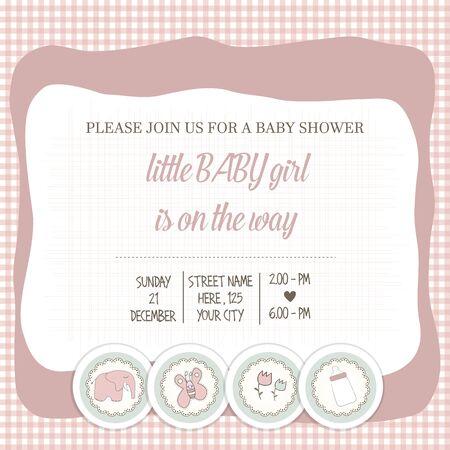 playfulness: baby girl shower card, vector illustration