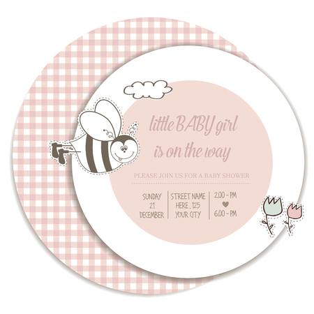 baby girl shower card, vector illustration