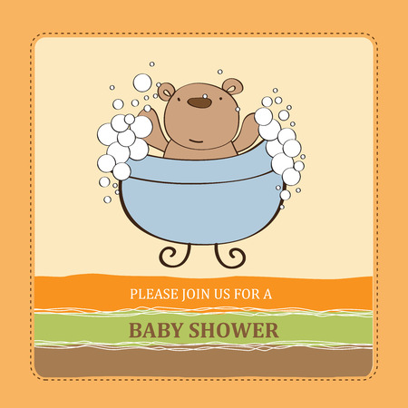 baby shower card with teddy bear,