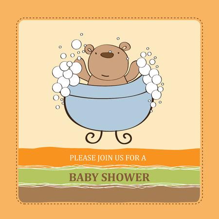playfulness: baby shower card with teddy bear,