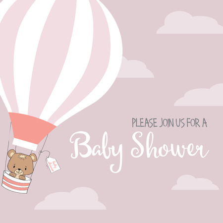 baby toy: baby girl shower card with hot air balloon, vector