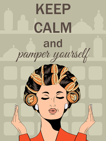 pampering: Beautiful illustration with messageKeep calm and pamper yourself, vector format