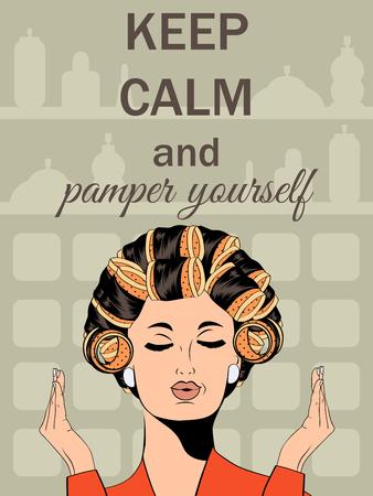 """mimos: Ejemplo hermoso con el mensaje """"Mantenga la calma y darse un capricho"""", en formato vectorial"""