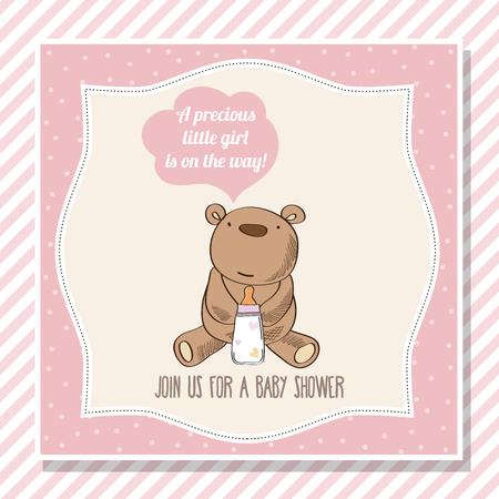 baby girl shower card with teddy bear, vector