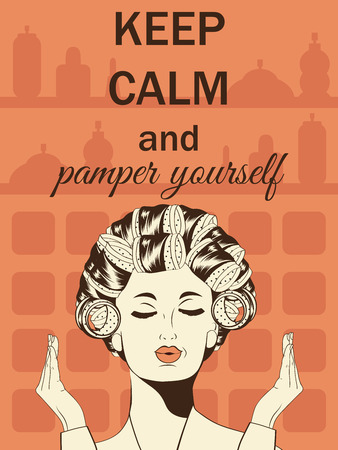 pamper: Beautiful illustration with messageKeep calm and pamper yourself, vector format