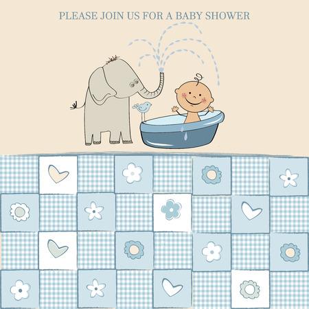 vintage baby: baby boy shower card, vector illustration
