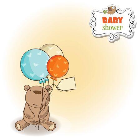 baby bear: baby shower card with cute teddy bear