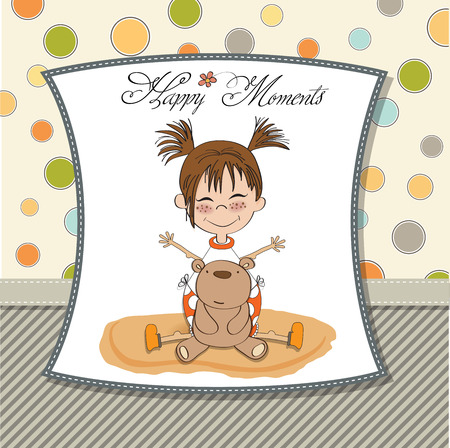 eyes closeup: happy moments card with little girl and her teddy bear,