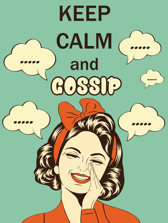 rumor: Retro funny illustration with massageKeep calm and gossip, vector format