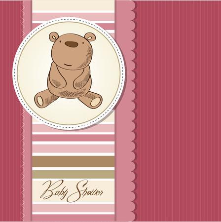 playfulness: baby girl shower card with  teddy bear, vector Illustration