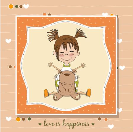 teddy bear vector: Little girl with her teddy bear. Vector Illustration.