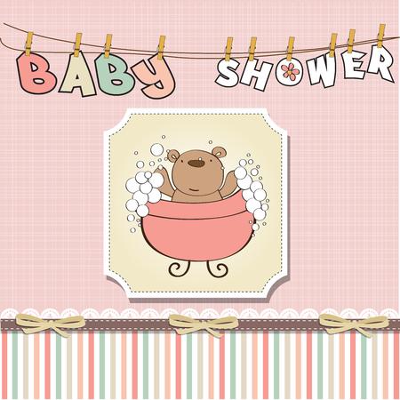 baby girl shower card with teddy bear, vector Ilustração Vetorial