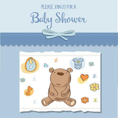 baby boy shower card, eps10