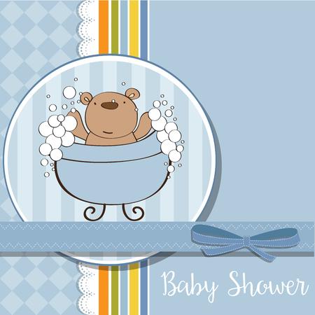 baby boy shower card with  teddy bear, vector