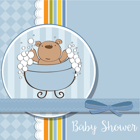 baby boy shower card with  teddy bear, vector