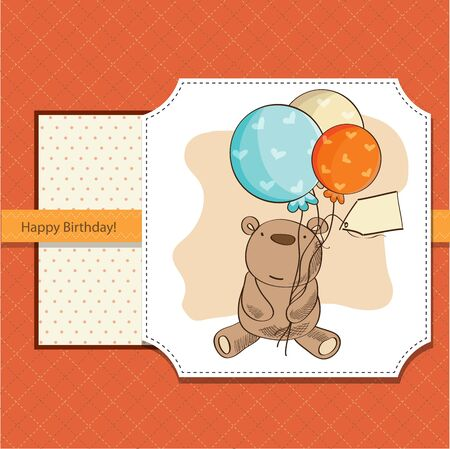 playfulness: birthday card with teddy bear and balloons, Illustration