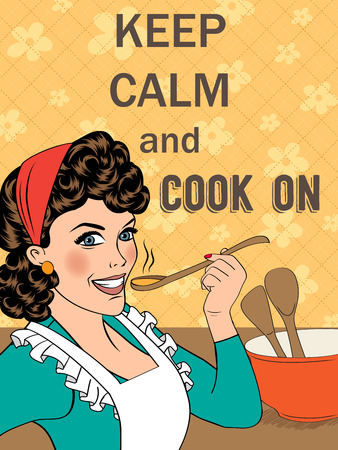 Illustration with massageKeep calm and cook on, vector format