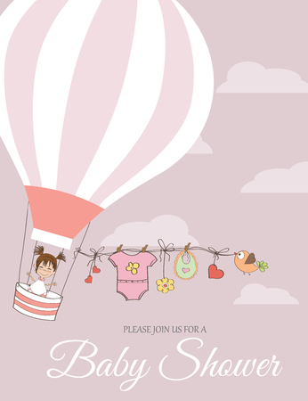 hot announcement: baby girl shower card with hot air balloon, vector