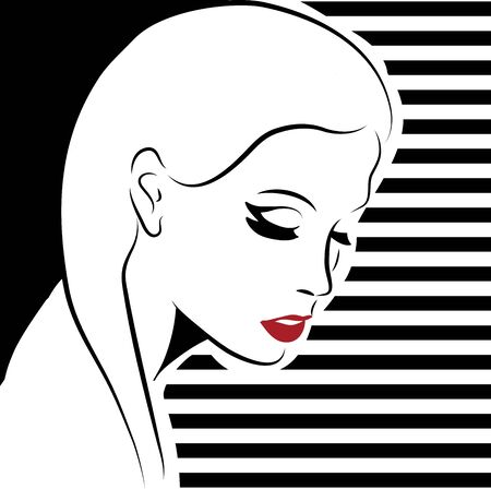 sexy woman with red lips, vector format