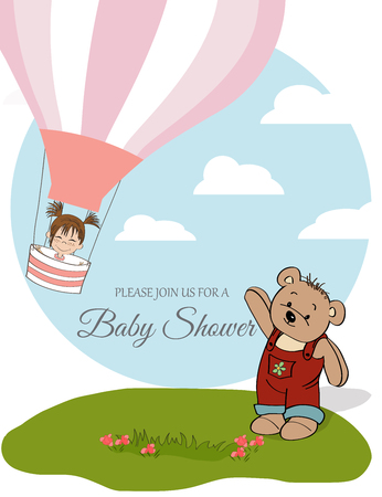 baby girl shower card with hot air balloon, vector